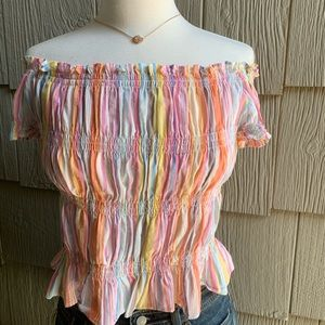 Pastel Striped Off-the-Shoulder Top